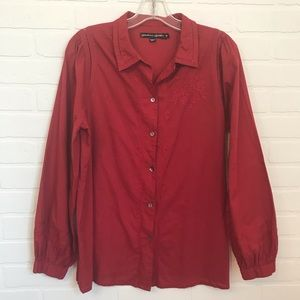 Gudrun Sjoden Button Down Sz M Red Embroidered
